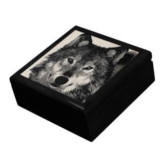 Wolf Scrimshaw Effect Keepsake Box