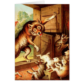 Wolf & Seven Young Kids ~ Fairy Tale Art Painting Card