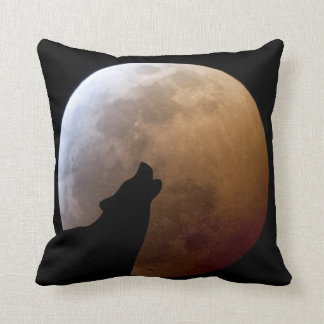 Wolf Silhouette and Lunar Eclipse Pillow