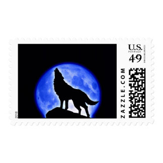 Wolf Silhouette at Moon Postage Stamps