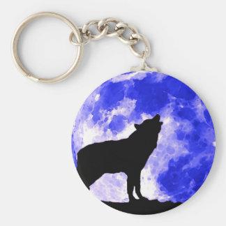 Wolf Silhouette & Blue Moon Keychain