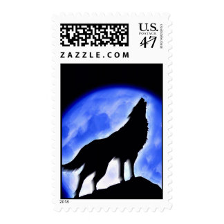 Wolf Silhouette & Blue Moon Postage