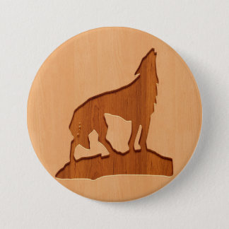 Wolf silhouette engraved on wood effect button