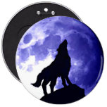 Wolf Silhouette & Full Moon 6 Inch Round Button