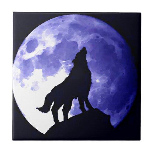 Wolf Silhouette & Full Moon Ceramic Tiles