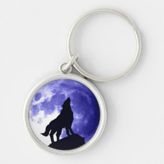 Wolf Silhouette & Full Moon Silver-Colored Round Keychain