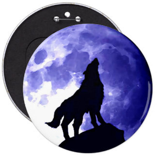 Wolf Silhouette & Full Moon Pinback Button