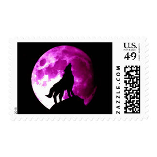 Wolf Silhouette & Full Moon Postage