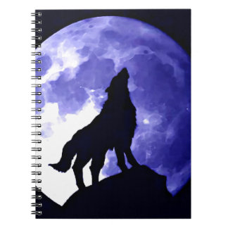 Wolf Silhouette & Full Moon Spiral Notebook