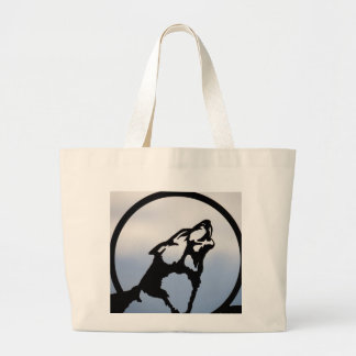Wolf silhouette jumbo tote bag