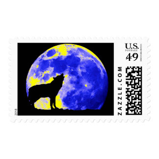 Wolf Silhouette & Moon Postage