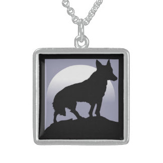 WOLF SILHOUETTE STERLING SILVER NECKLACE
