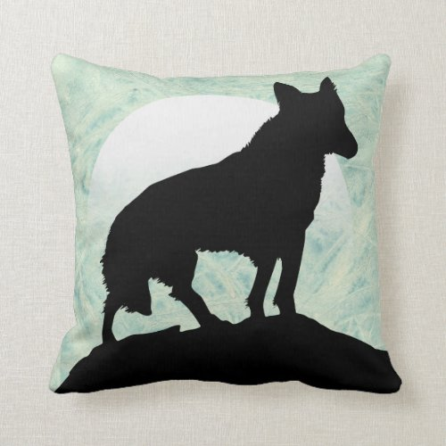 Wolf Silhouette With Moon Throw Pillow