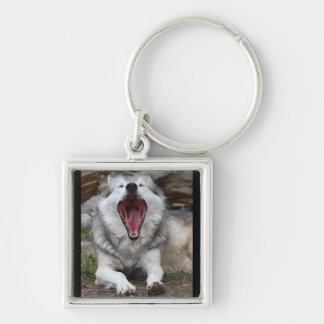 wolf Silver-Colored square keychain
