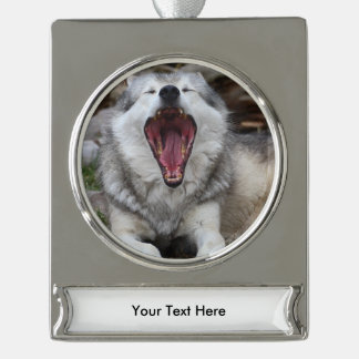wolf silver plated banner ornament