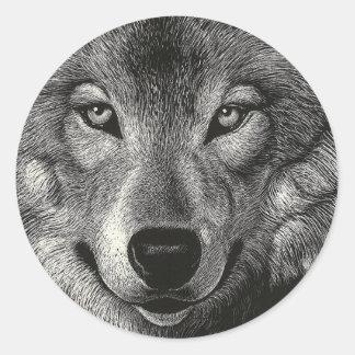 Wolf Sketch Classic Round Sticker