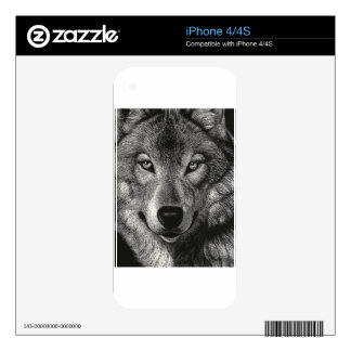 Wolf Sketch iPhone 4S Decal