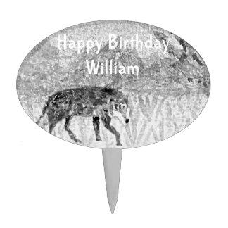 Wolf Sketch Wild Animal Art Cake Topper