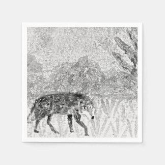 Wolf Sketch Wild Animal Art Paper Napkin
