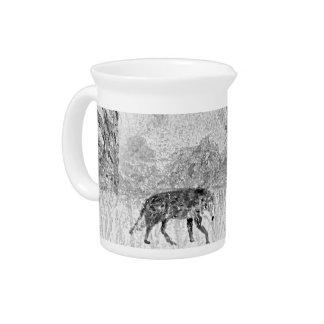 Wolf Sketch Wild Animal Art Pitcher