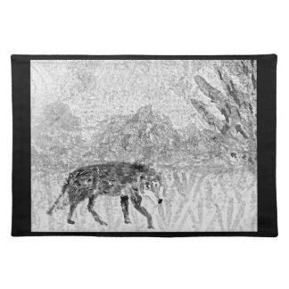 Wolf sketch wild animal art cloth placemat