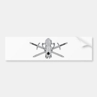 Wolf skull and Swords Bumper Sticker