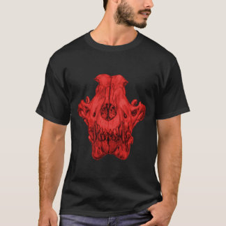 Wolf skull in Red T-Shirt
