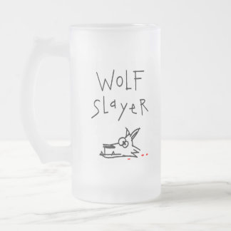 Wolf Slayer Frosted Glass Beer Mug