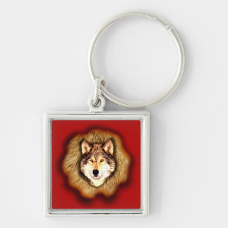 Wolf Small Square Keychain
