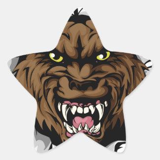 Wolf smashing out star sticker