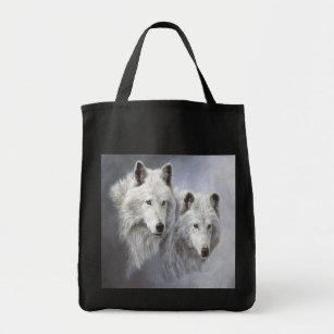Wolf Snow Buds Tote Bag