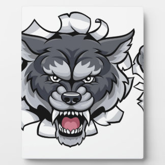 Wolf Soccer Mascot Breaking Background Plaque