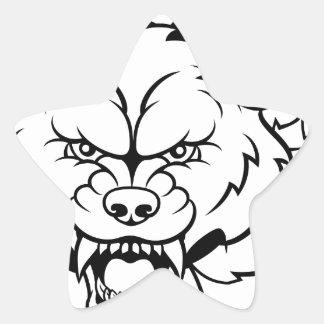 Wolf Soccer Mascot Breaking Background Star Sticker
