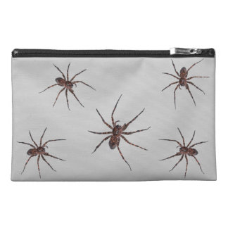 Wolf Spiders on gray Travel Accessory Bags
