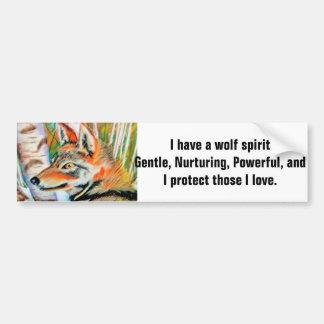Wolf Spirit Art Car Bumper Sticker