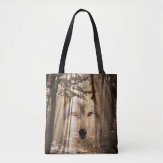 Wolf spirit in the woods tote bag
