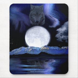 Wolf Spirit, Moon & Aurora Fantasy Art Mousepad