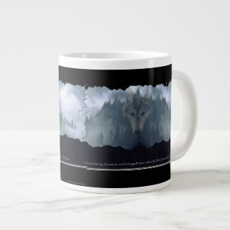 Wolf Spirit & Mountain Jumbo Soup & Coffee Mug 20 Oz Large Ceramic Coffee Mug