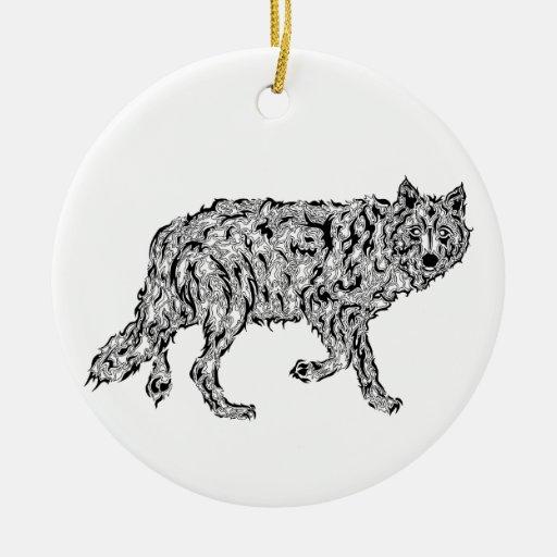 """Wolf Spirit"" - Surreal Totem Animal Christmas Tree Ornament"