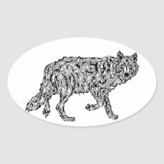 """Wolf Spirit"" - Surreal Totem Animal Oval Sticker"