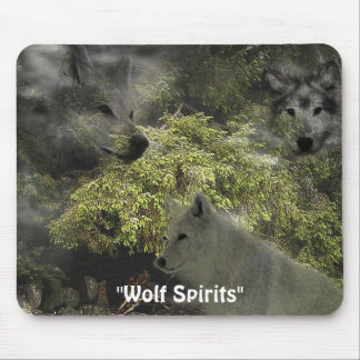 """Wolf Spirits"" Ghostly Grey Wolves Designer Mousepads"