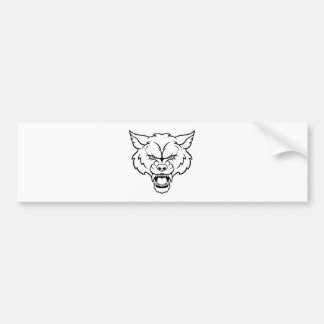 Wolf Sports Mascot Angry Face Bumper Sticker