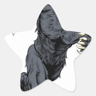 Wolf sports mascot or werewolf running star sticker