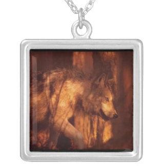wolf square pendant necklace