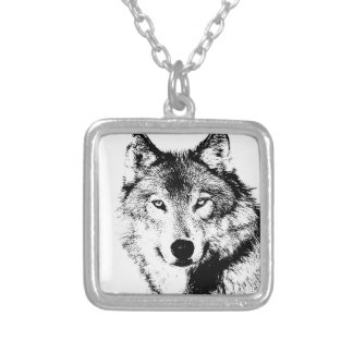 Wolf Square Pendant Necklace