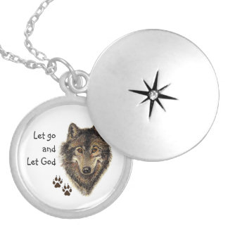Wolf Strength Quote Let Go and Let God Round Locket Necklace