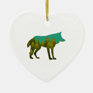 Wolf stroll ceramic ornament