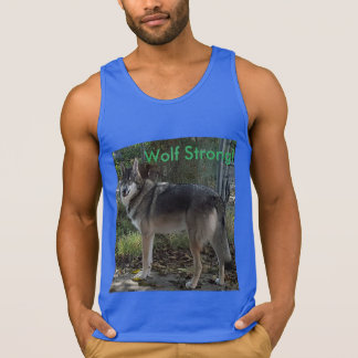 Wolf strong! in blue tank top