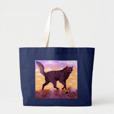 pegacorna Wolf Sunset Large Tote Bag