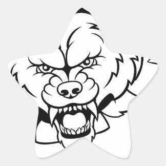 Wolf Tennis Mascot Breaking Background Star Sticker